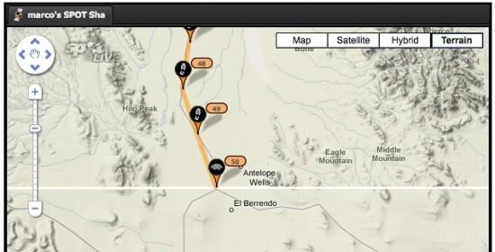 Screenshot of the SPOT tracker page