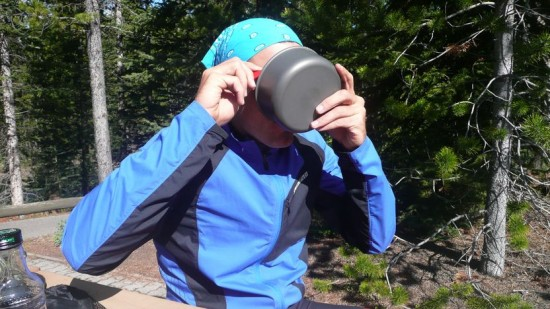 Marco slurping down breakfast before Elk Pass