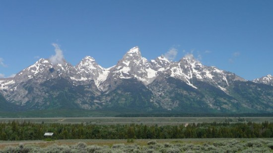 The Tetons, from the road to Jackson Hole